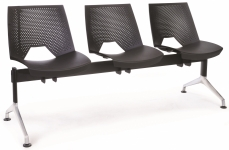 Strıpe Monoblok Pls. Üzeri Döşemesiz Oturum , Krom Ayaklı Üçlü Bekleme Koltuğu