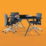 Kelebek 180´lik Boyalı Ayaklı Cam Toplantı Masası