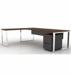 Pi Desk Yan Tablalı Ahşap Vip Yönetici Masası